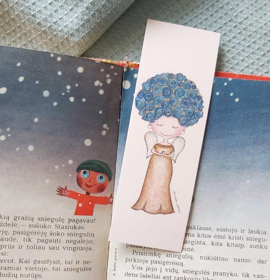 """Skirtukas knygai """"Angeliukas mėlynais plaukais"""""""